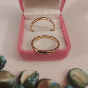 2 pcs. Gold Tone Titanium Ring